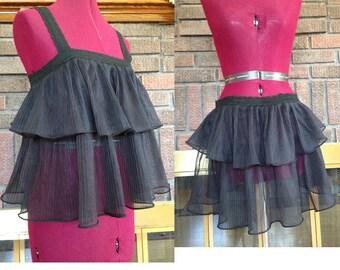 Ruffle Nightie Vintage / Sheer Ruffle Top Doubles as Skirt / Black Sheer Top / USA Made Black Lingerie