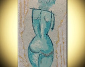 Sculpture heavy texture Impasto Painting on canvas Modern white Turquoise figure Fine Art Palette knife acrylic Painting by IraSher