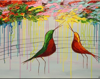 """ORIGINAL Abstract Love Birds Song painting 24""""x36"""" colourful Fine Art Impasto heavy texture Palette knife oil Painting by IraSher"""