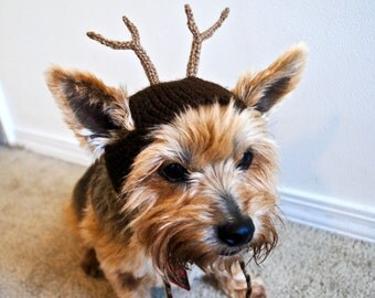 Reindeer Costume for Dogs - Hand Knit Dog Hat - Custom Sizing
