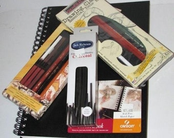 Artist Sketch Lot: Sketch Book - Graphite & Charcoal Pencils - Willow Charcoal