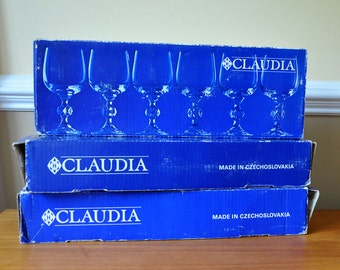SALE 20% OFF! Claudia Crystal Bohemia Stemware Glasses with Boxes - Set of 18