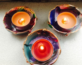Ring bowls, marbled ring dish, tealight holder, set of 4
