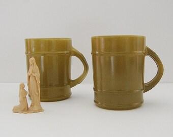 FireKing Mugs, Vintage Mugs Green Bamboo Style, Set of 2 Mugs, Kitsch Drinkware