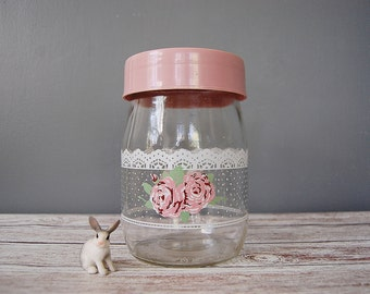 Vintage Jar Pink Rose and Lace Motif w/ Pink Lid, Vintage Storage Jar, Cottage Chic Decor, Vintage Carlton Glass Jar