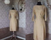 Vintage 1950's 60's Gold Lurex Fitted Dress M/L