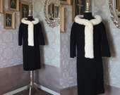 Vintage 1950's 60's Lilli Ann Black Two Piece Suit Skirt and Jacket with White Mink Collar XS
