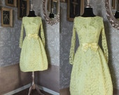 Vintage 1950's 60's Yellow Lace Cocktail Dress with Built-In Petticoat Small