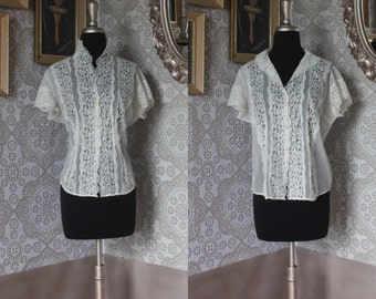 Vintage 1950's Sheer Cream Lace and Nylon Blouse Large