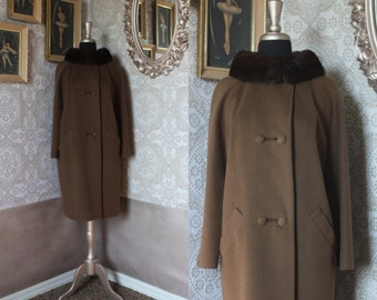Vintage 1960's Lilli Ann Cocoa Brown Wool Coat with Mink Collar M/L