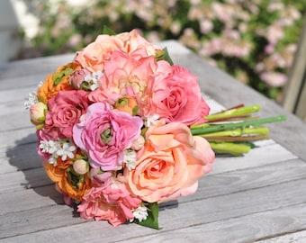 Wedding Bouquet, Tangerine Orange Ranunculus, Coral Rose, Pink Rose, Coral Dahlia and Wax Flower Silk Flower Bouquet.