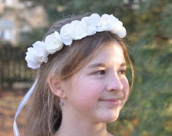 Flower Girl Wreath, First Communion Floral Crown, Wedding Flowers, White Hydrangea Blossom Wreath by Holly's Flower Shoppe.