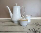 Coffee Pot Cream and Sugar Bowl Gold and White Winterling Roslau Bavaria Coffee Service Tea Pot Tea Kettle Tea Service Christmas Gift