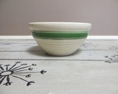 Stoneware Bowl with Green Stripe 1930s Bowl USA Shabby Chic Rustic Bowl RIngware Bowl Yellow Ovenware Bauer McCoy