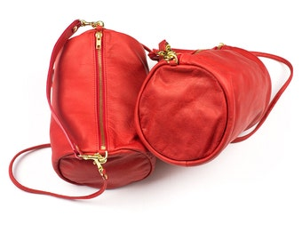 LOU Red Leather Purse. Leather Cross Body Purse. Red Leather Bag. Small Red Leather Bag