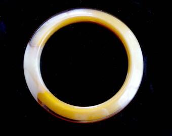 Bangle Bracelet Marbled Butterscotch Lucite Vintage Retro