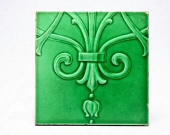 An English Art Nouveau 19th Century Art Pottery Tile