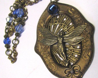 Art Nouveau Antique Brass Winged Butterfly Goddess Pendant Necklace, Cobalt Blue Cabochon, Vintage 1930's Style, Large Statement Pendnant