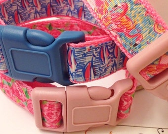 Lilly Pulitzer Inspired Flamingo Sailboats Flower Inspired Pet Collars / Inspired Collars in Peek and Eat, Red Right Return & HPFI