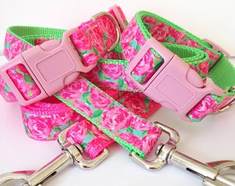 Lilly Pulitzer Inspired HPFI Coordinating Pet Leash / First Impression Inspired Dog Collar