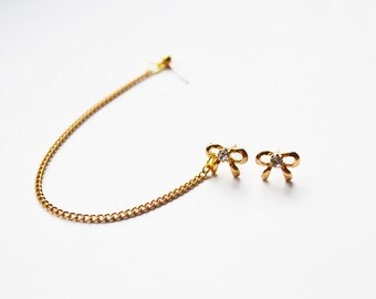 Delicate Gold Bow Double Pierce Cartilage Earrings (Pair)