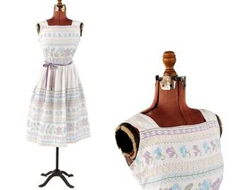 Vintage 1950's Crisp White Cotton Pastel Crosstitch Floral Novelty Print Summer Ribbon Belted Dress S