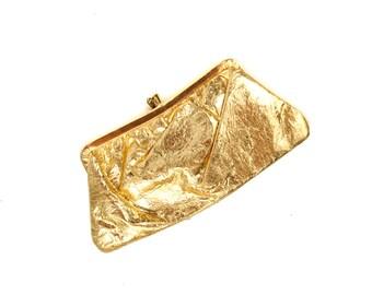 Vintage 1950's Super Gold Metallic Hollywood Glam Kissing Lot Small Evening Cocktail Clutch Purse Handbag SALE