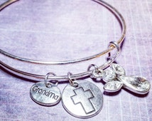 Grandma Bracelet with Cross and Crystal Angel Charms - Adjustable Silver Bangle Charm Bracelet - Family Bracelet