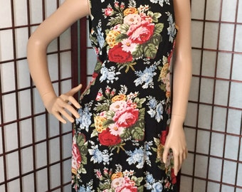 Vintage Floral Dress by Sharon Young, 1980's, Maxi Dress