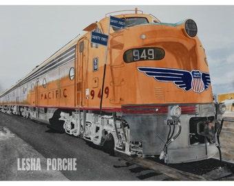 Union Pacific train engine western US - 11 x 14 print