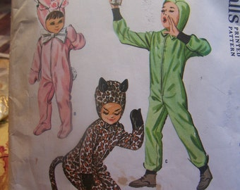1963 Boys' or Girls' Cat, Bunny & Space Costumes Size 12 McCall's Pattern 6991