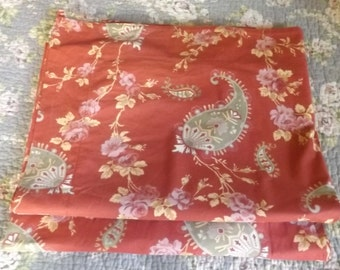 """Pair two pillow covers, burnt or colonial red green, quilt fabric pieces, 25"""" x 30"""" beautiful condition all cotton fabric paisley and roses"""