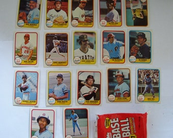 These 17 Baseball trading cards are 1981 series  cards by FLEER, The opened fleer package is included,
