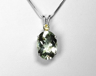 Prasiolite and Montana Sapphire Pendant in Silver, 14 x 10 mm