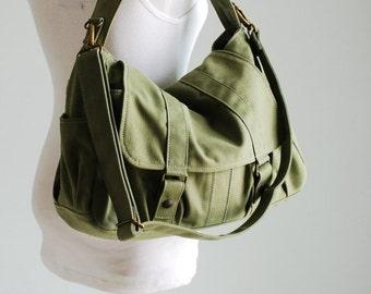 Halloween SALE - 30% Pico2 in Army Green (Water Resistant) School / Shoulder Bag / Messenger Bag/ tote / Diaper Bag/Diaper Bag/ School Bag/