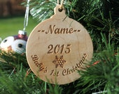 Snowflake Baby's 1st Christmas Ornament  Personally Laser Engraved with Name & Year
