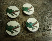 Rare Auth Vintage GUCCI Enamel BUTTONS (4) Wardrobe Couture Accessory Necklace Bracelet Charm Jewelry Accessory GG Gift