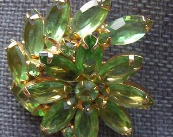 Vintage Light Green Flower Brooch