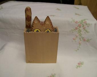 Halloween BOO Kitty Decorative Wood Carved Vintage Decor