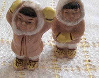 Eskimo Salt Pepper Shakers Vintage Japan