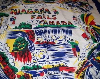 "Niagara Falls Souvenir Scarf 28"" Bright Colorful Vintage Scarf Niagara Falls Canada USA Ladies Accessory Souvenir Scarf"