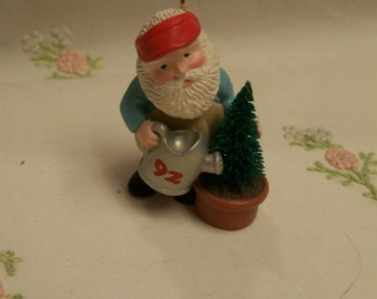 Hallmark Christmas Ornament, 1992 ,Green Thumb Santa, Vintage Christmas Tree Ornament, Santa Claus, Great Gift for Gardener, Plant Lover