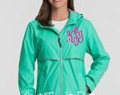 Monogrammed Ladies Rain Jacket~ Womens Monogrammed Rain Coat~Many Colors