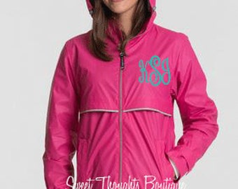 Monogrammed Ladies Rain Jacket, Womens Monogrammed Rain Coat, Embroidered Rain Jacket, Personalized Rain Jacket, Many Colors