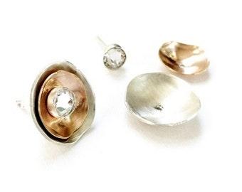 Rose Gold Earring, Rose Ear Jacket, Ear Jacket Earring, Silver Ear Jacket, Minimal Modern Studs, Cluster Earrings, Interchangeable, Ciderino