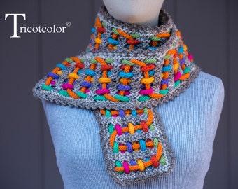 Echarpe femme en laine tricotée à la main