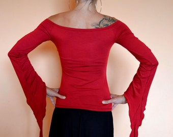 RED GOTH TOP Off The Shoulder Top Pixie Top Handmade Goth Top Off The Shoulder Pixie Tunic Pixie Top Goth Pixie Top Bell Sleeve Top