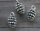 30 Silver Pinecone Charms 15mm