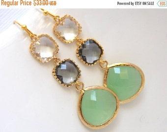 SALE Mint Earrings, Green, Gray, Grey, Glass, Drop, Dangle, Gold, Bridesmaid Jewelry, Bridesmaid Earrings, Bridal Jewelry, Bridesmaid Gift