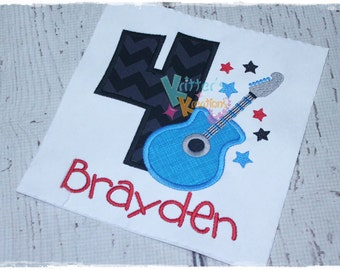 Boys - Rockstar Birthday - Guitar Birthday - Embroidered Applique Shirt